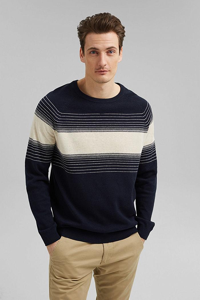 Linen/organic cotton: striped jumper, NAVY, detail image number 0