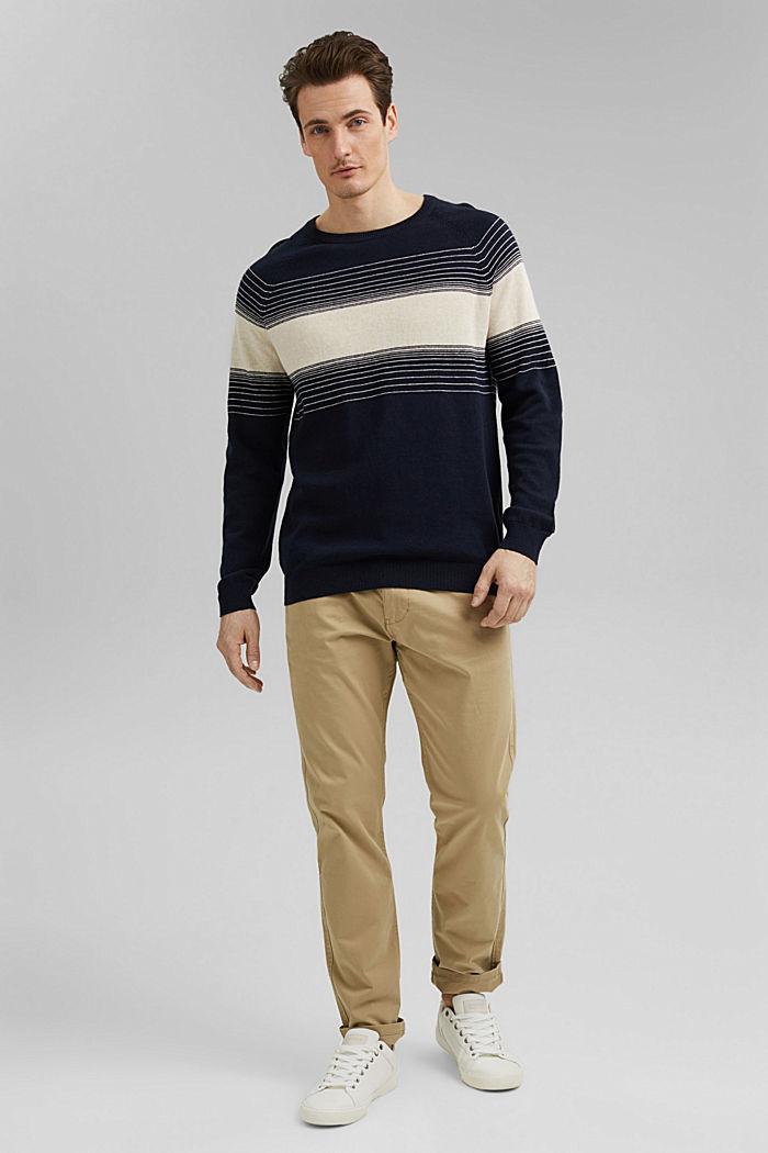 Linen/organic cotton: striped jumper, NAVY, detail image number 1