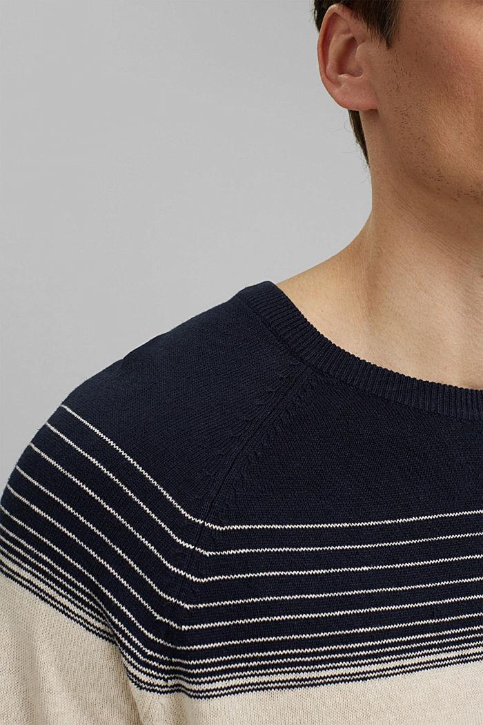Linen/organic cotton: striped jumper, NAVY, detail image number 2