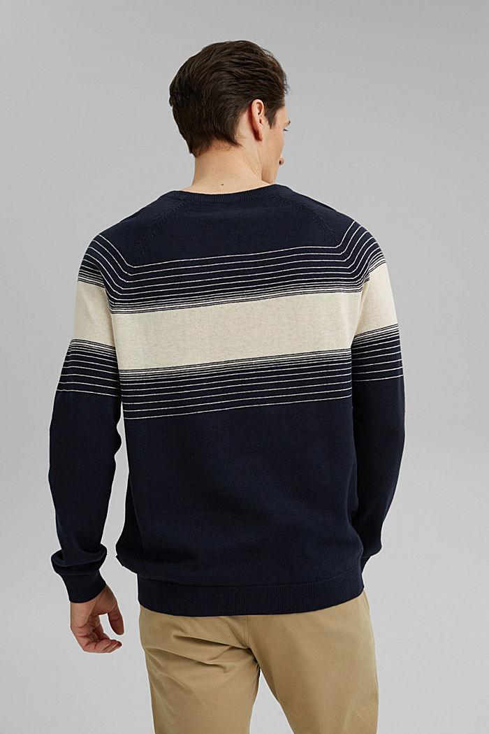 Linen/organic cotton: striped jumper, NAVY, detail image number 4