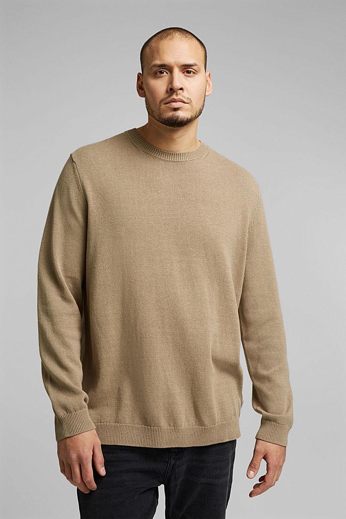 Aus Leinen-Mix: Pullover mit Organic Cotton, BEIGE, detail image number 0