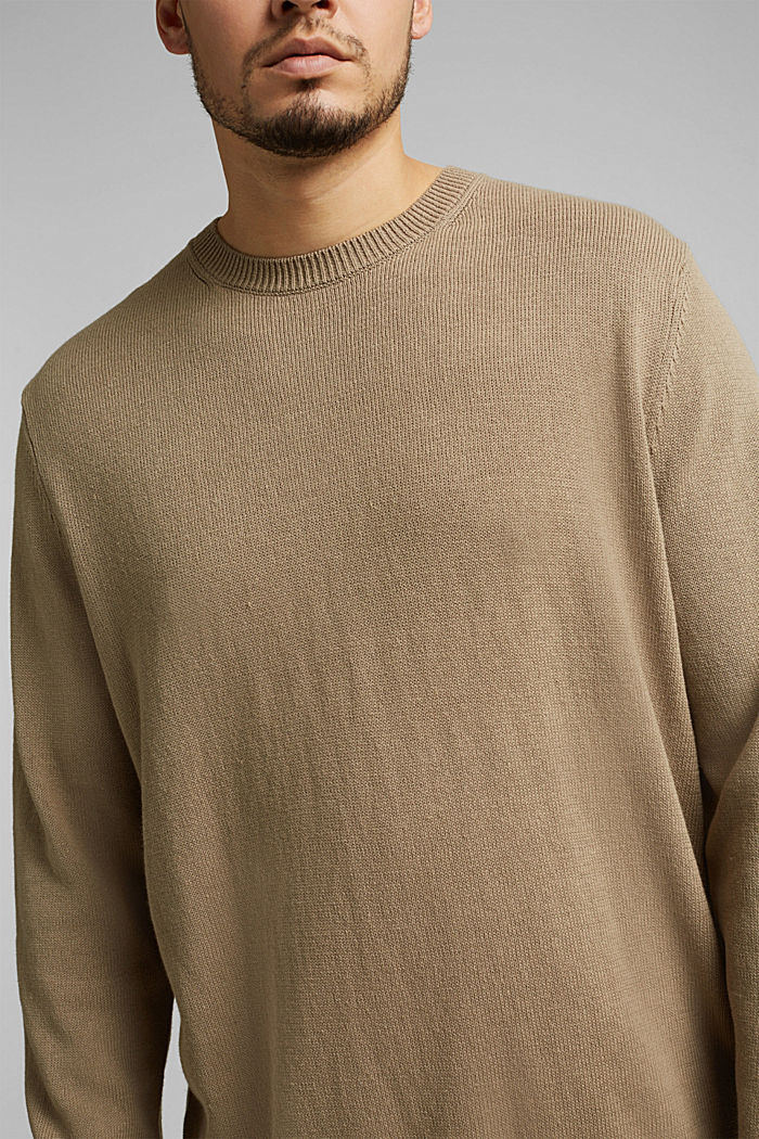 Made of blended linen: jumper with organic cotton, BEIGE, detail image number 1
