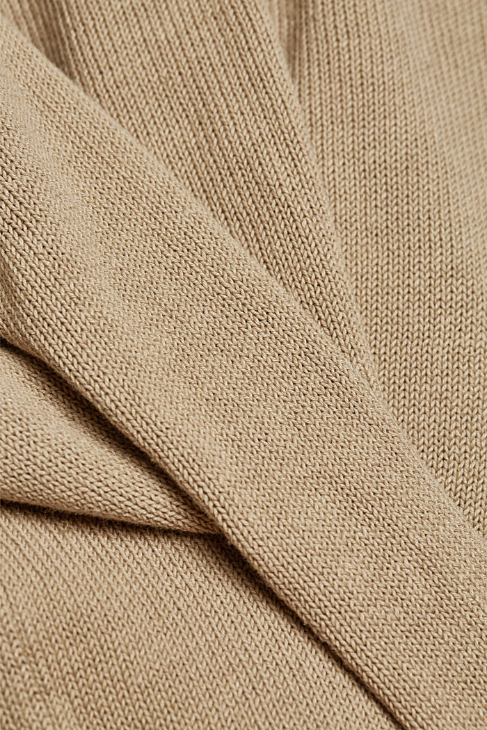 Made of blended linen: jumper with organic cotton, BEIGE, detail image number 3