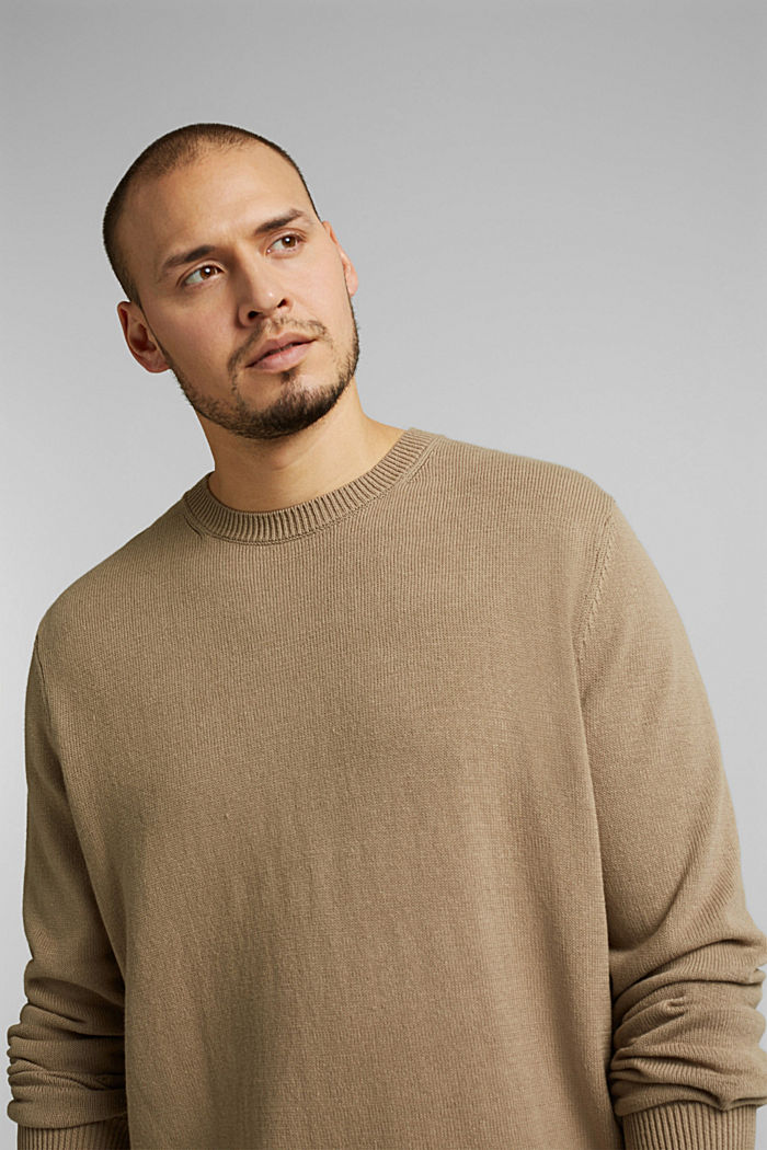Made of blended linen: jumper with organic cotton, BEIGE, detail image number 4