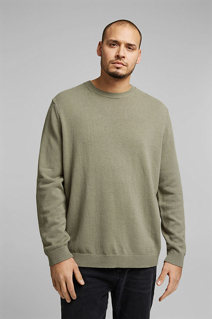 Made of blended linen: jumper with organic cotton, LIGHT KHAKI, detail image number 0