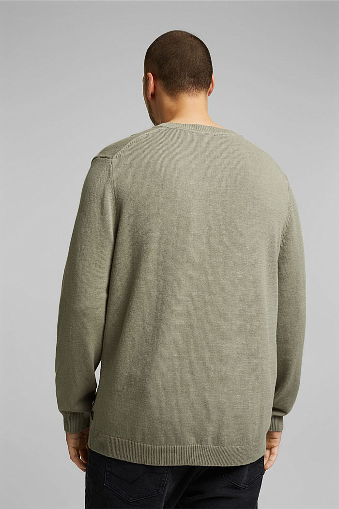 Made of blended linen: jumper with organic cotton, LIGHT KHAKI, detail image number 2