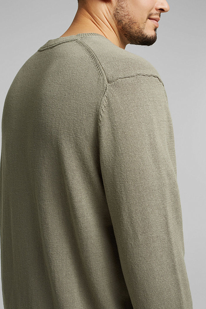 Made of blended linen: jumper with organic cotton, LIGHT KHAKI, detail image number 1