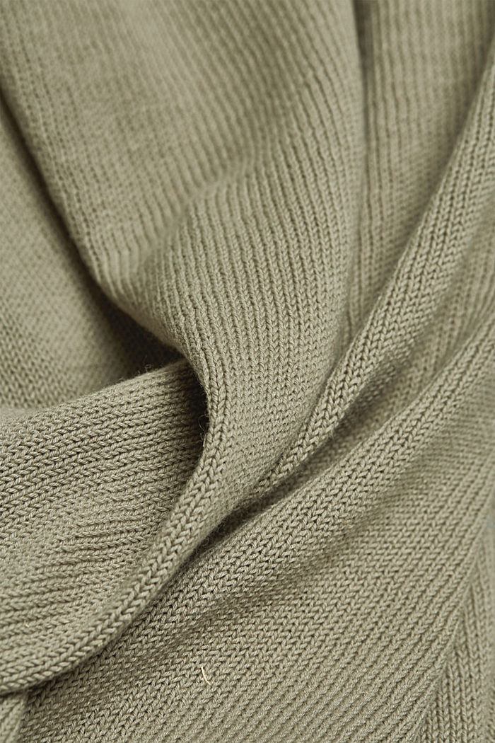 Made of blended linen: jumper with organic cotton, LIGHT KHAKI, detail image number 3