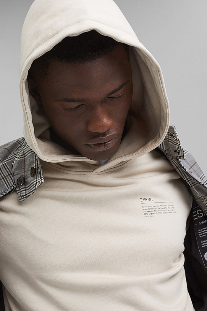 Recycelt: Hoodie mit Organic Cotton, LIGHT BEIGE, detail image number 4