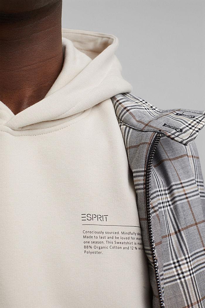 In materiale riciclato: felpa con cappuccio con cotone biologico, LIGHT BEIGE, detail image number 2