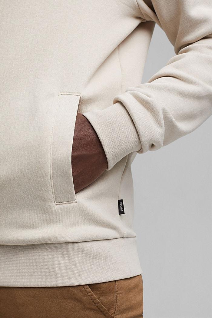 In materiale riciclato: felpa con cappuccio con cotone biologico, LIGHT BEIGE, detail image number 7