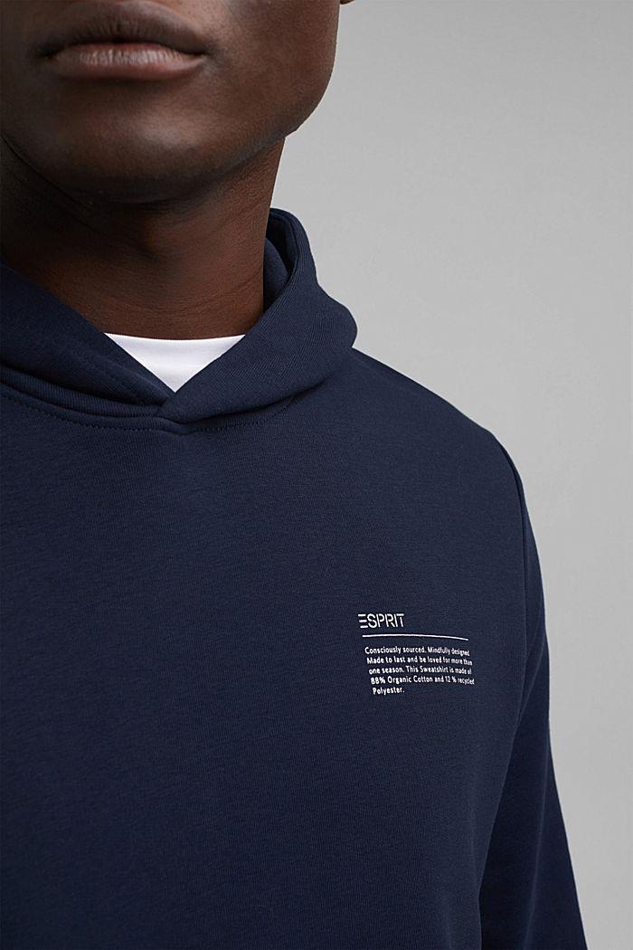 Recycelt: Hoodie mit Organic Cotton, NAVY, detail image number 2