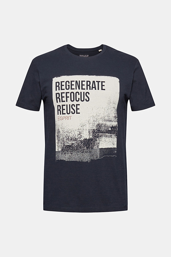 Piqué T-shirt made of 100% organic cotton, NAVY, overview