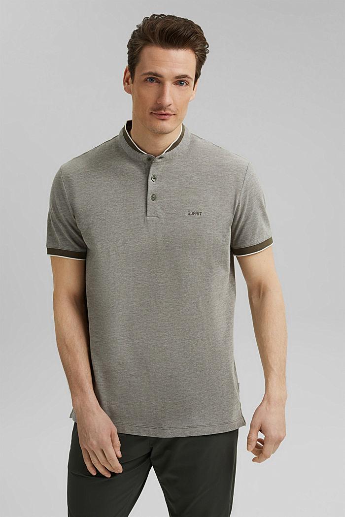 Piqué polo shirt made of 100% organic cotton, DARK KHAKI, detail image number 0