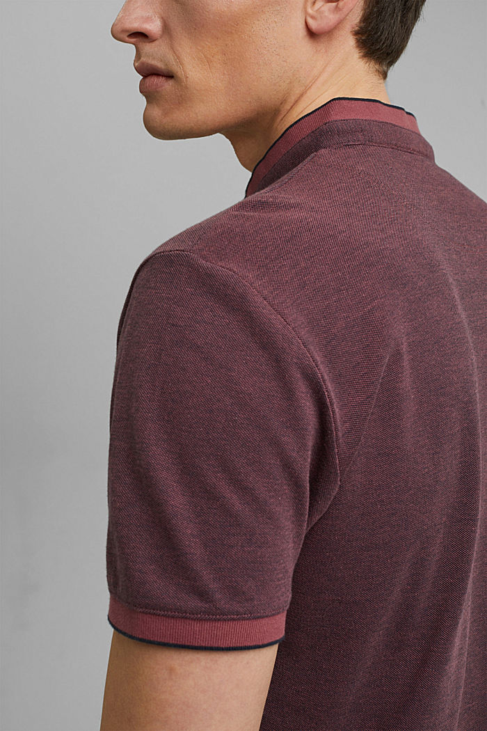 Piqué polo shirt made of 100% organic cotton, BERRY RED, detail image number 5