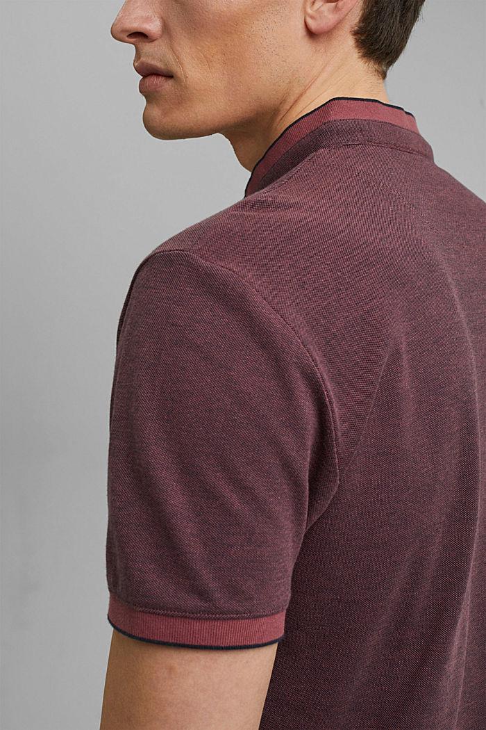 Koszulka polo z piki, 100% bawełny ekologicznej, BERRY RED, detail image number 5
