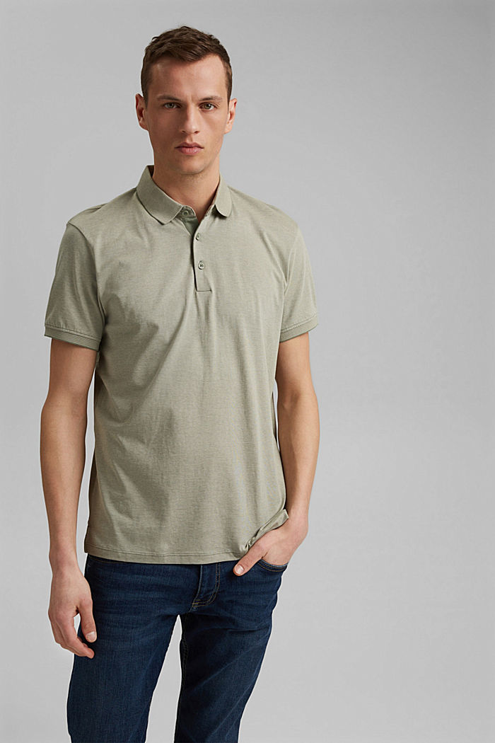 Jersey polo shirt made of 100% organic cotton, LIGHT KHAKI, detail image number 0