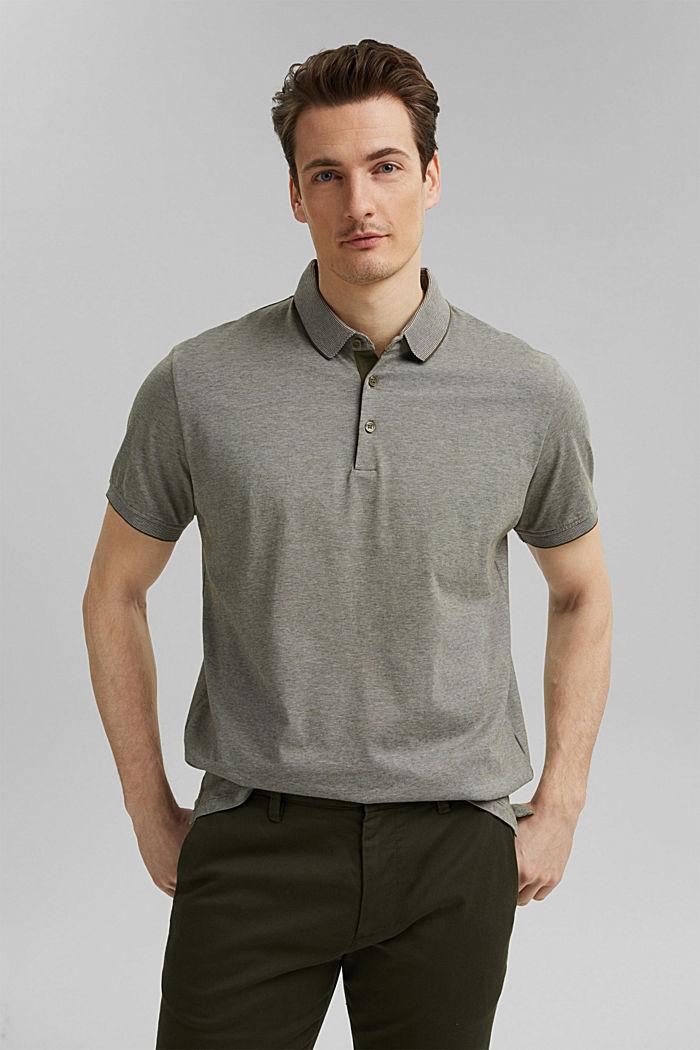 Jersey-Poloshirt aus 100% Organic Cotton, DARK KHAKI, detail image number 0
