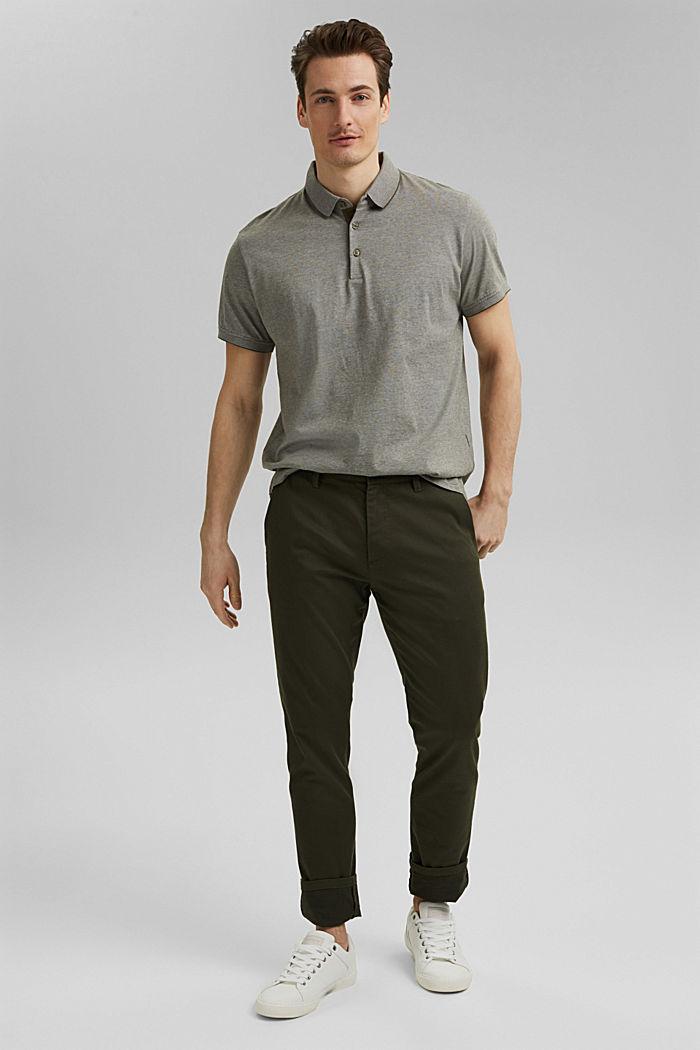 Jersey-Poloshirt aus 100% Organic Cotton, DARK KHAKI, detail image number 7