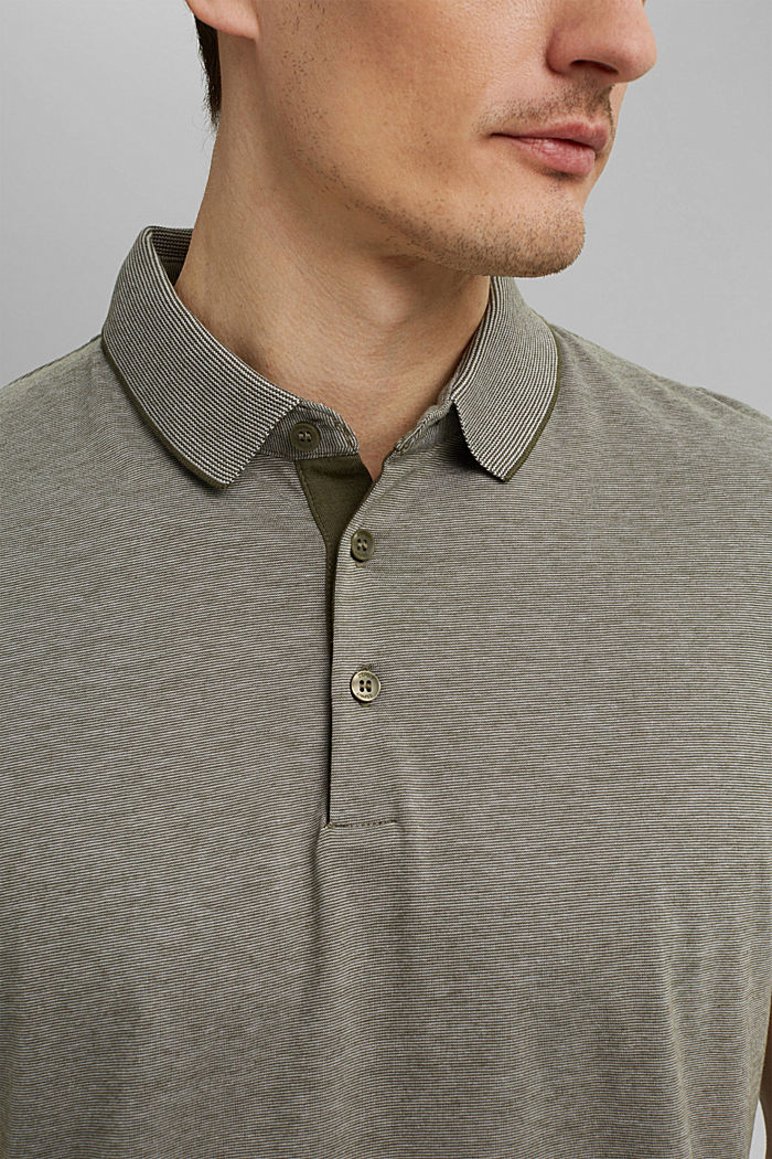 Jersey polo shirt made of 100% organic cotton, DARK KHAKI, detail image number 1