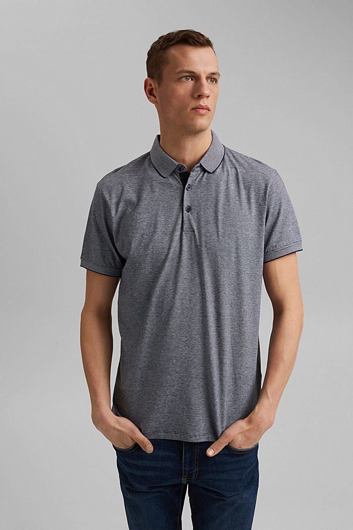 Jersey polo shirt made of 100% organic cotton, NAVY, detail image number 0