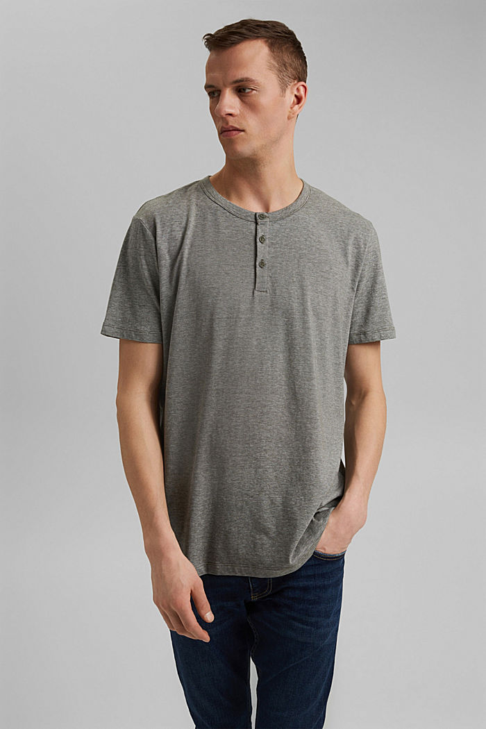 Jersey top made of 100% organic cotton, DARK KHAKI, overview