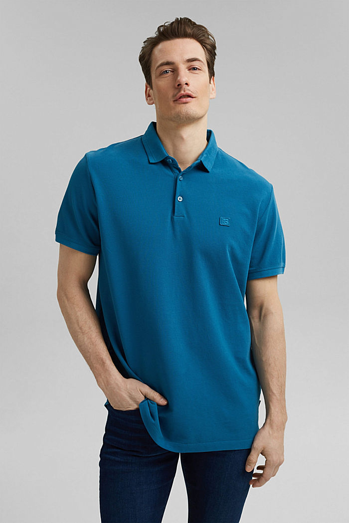 Piqué polo shirt made of 100% organic cotton, PETROL BLUE, detail image number 0