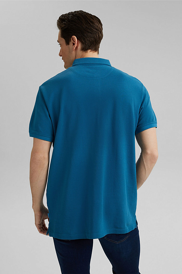 Piqué polo shirt made of 100% organic cotton, PETROL BLUE, detail image number 3