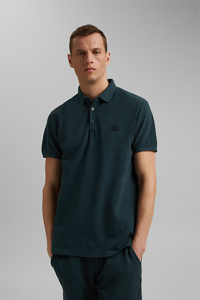 Piqué polo shirt made of 100% organic cotton, TEAL BLUE, detail image number 0
