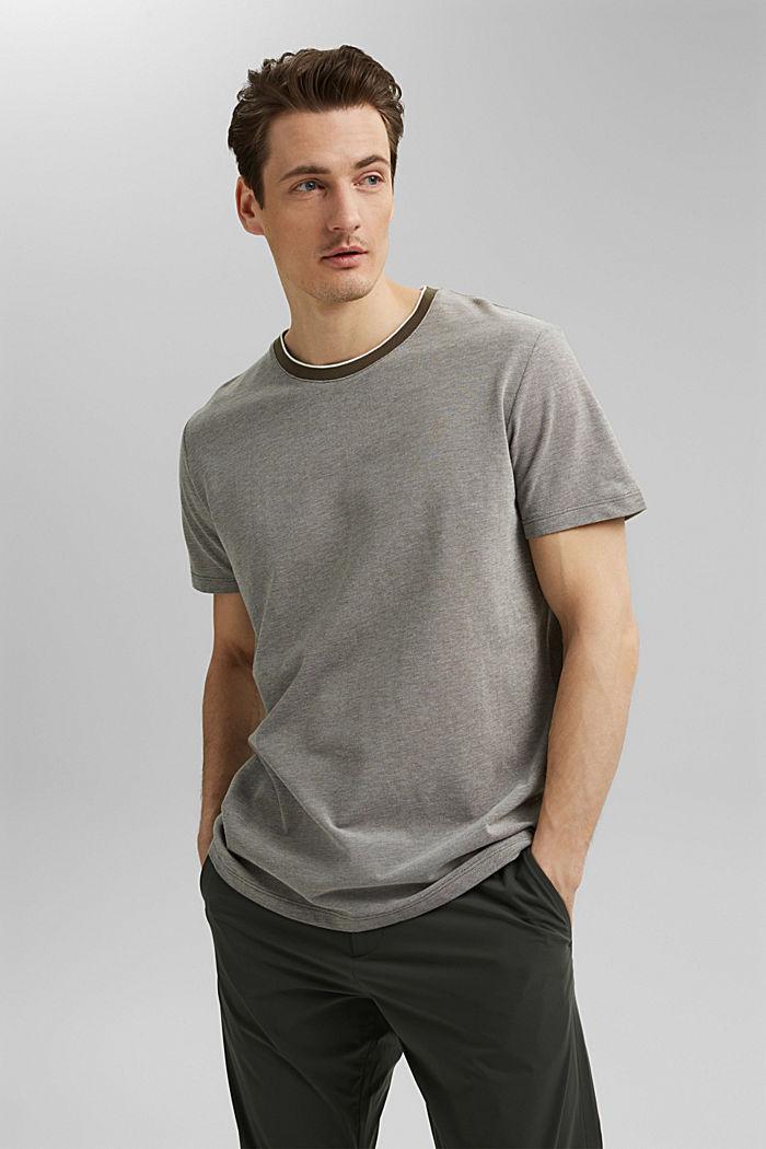 Piqué-T-Shirt aus Organic Cotton, DARK KHAKI, detail image number 0