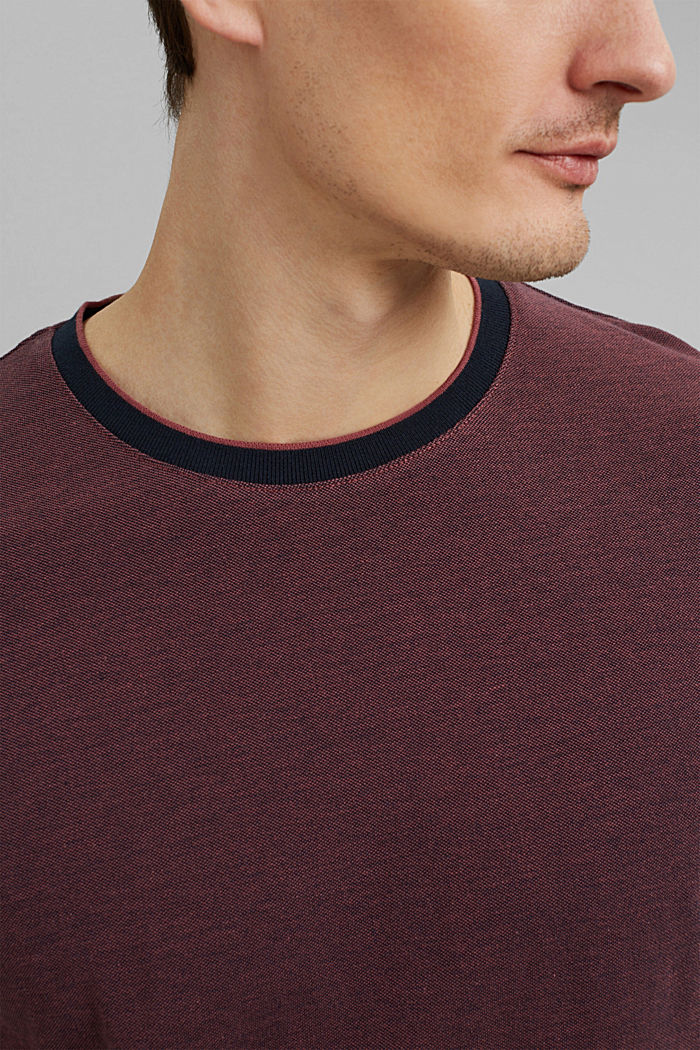Piqué T-shirt made of organic cotton, BERRY RED, detail image number 1