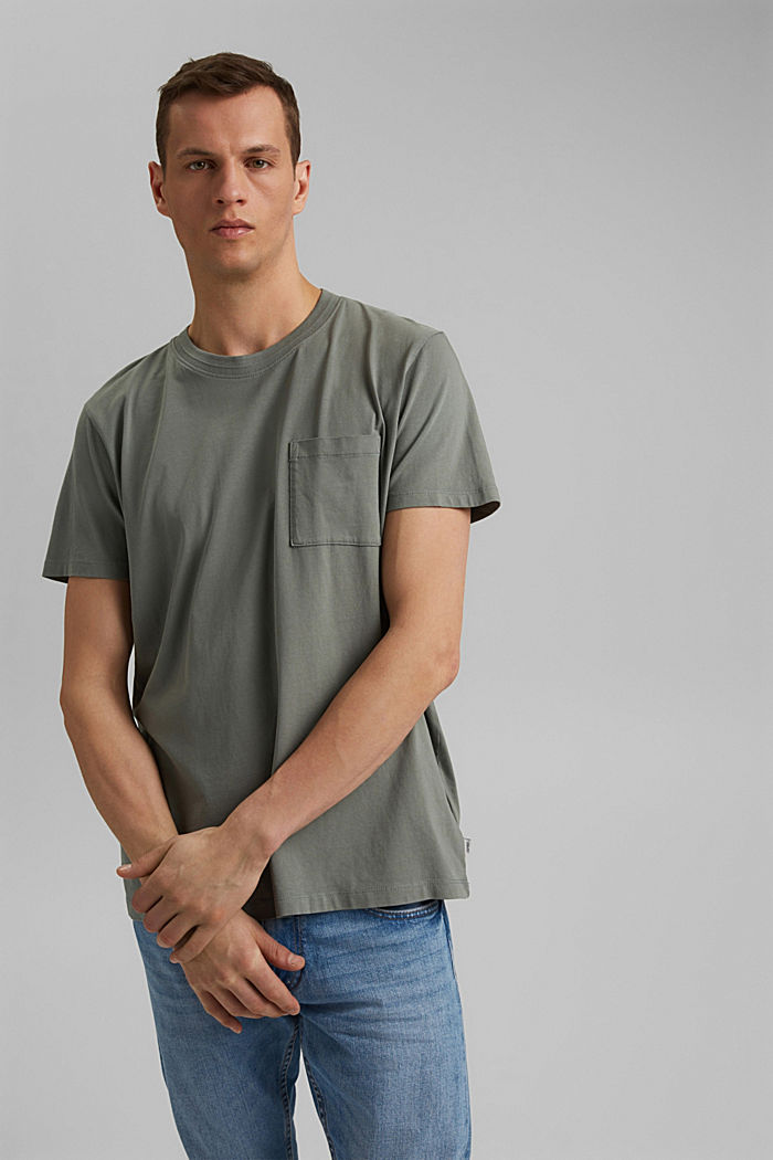 Jersey-T-Shirt aus 100% Bio-Baumwolle, LIGHT KHAKI, detail image number 0