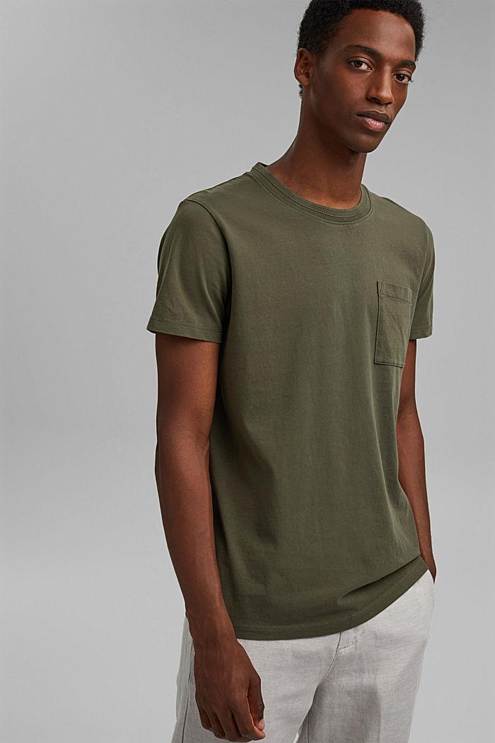 Jersey-T-Shirt aus 100% Bio-Baumwolle, DARK KHAKI, detail image number 0