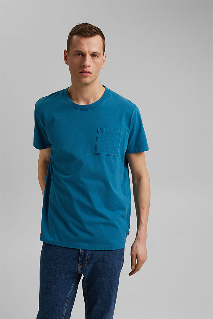 Jersey T-shirt made of 100% organic cotton, PETROL BLUE, detail image number 0
