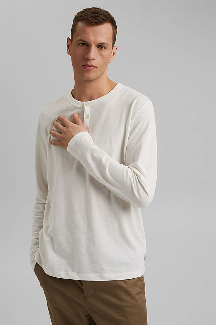 Piqué long-sleeved top, 100% organic cotton, OFF WHITE, detail image number 0