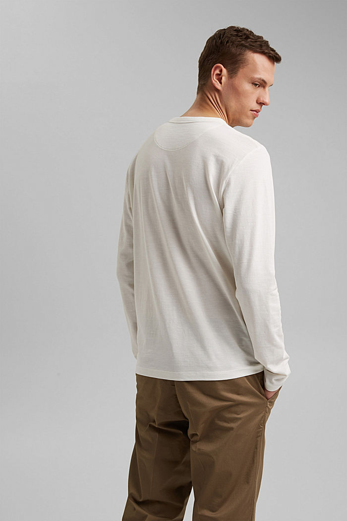 Piqué long-sleeved top, 100% organic cotton, OFF WHITE, detail image number 3