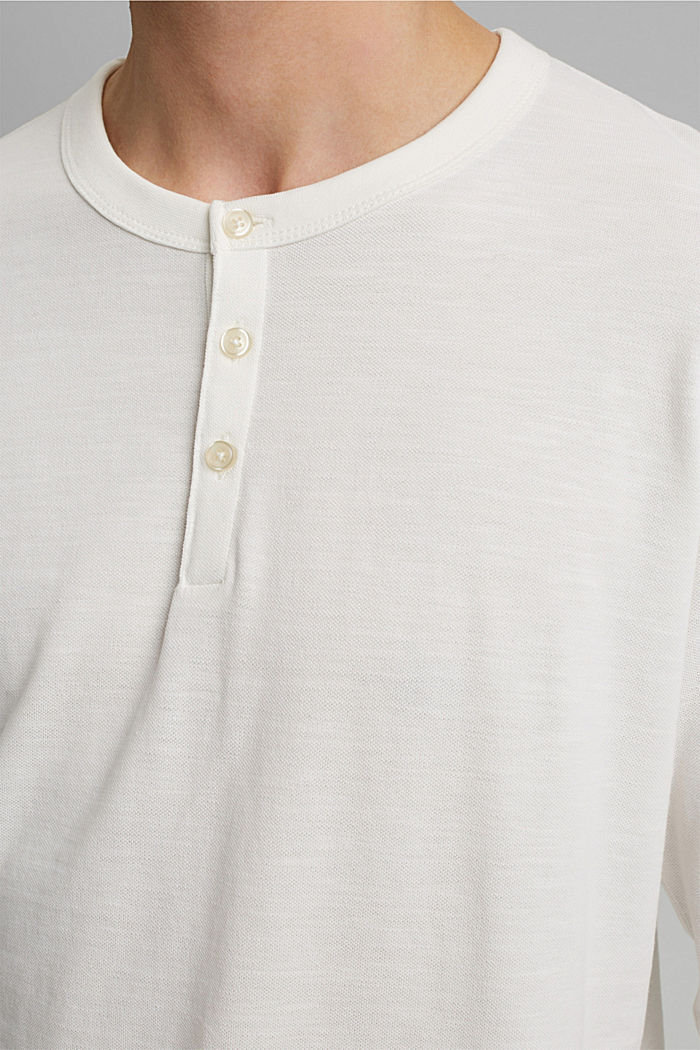 Piqué long-sleeved top, 100% organic cotton, OFF WHITE, detail image number 1