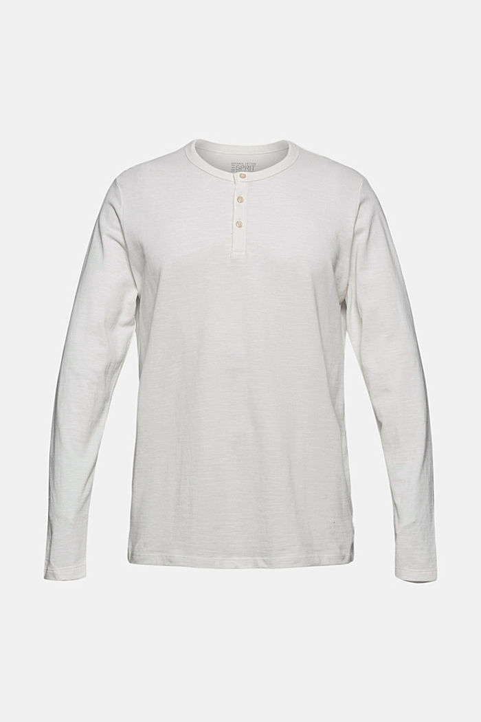 Piqué long-sleeved top, 100% organic cotton, OFF WHITE, detail image number 5