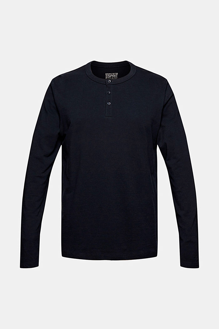 Piqué-Longsleeve, 100% Organic Cotton, NAVY, overview