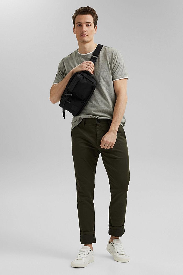 Layered jersey T-shirt, 100% organic cotton, DARK KHAKI, detail image number 2