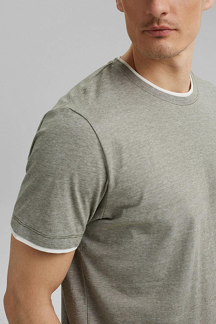 Layered jersey T-shirt, 100% organic cotton, DARK KHAKI, detail image number 1