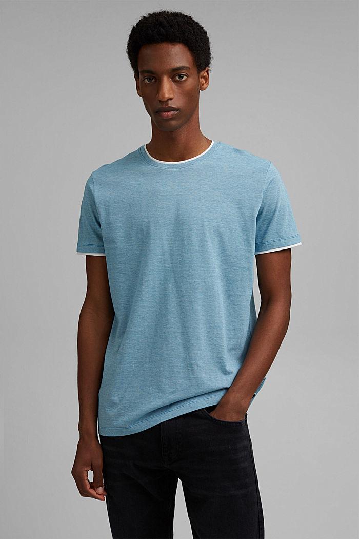 Layered jersey T-shirt, 100% organic cotton, PETROL BLUE, detail image number 0