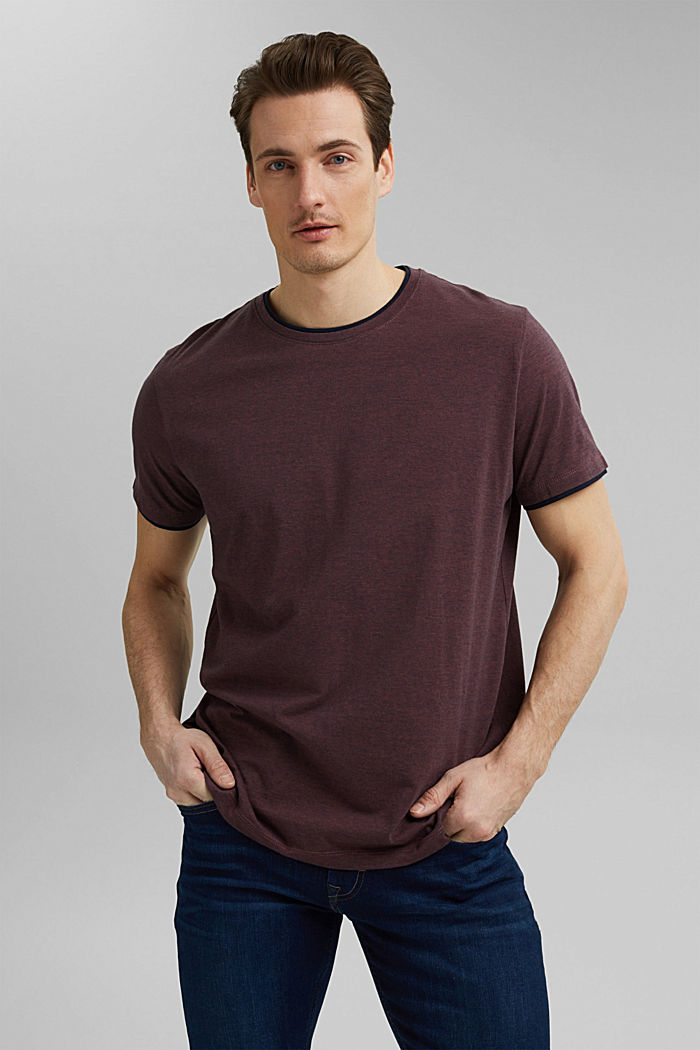 Gelaagd jersey shirt, 100% biologisch katoen, BERRY RED, detail image number 0