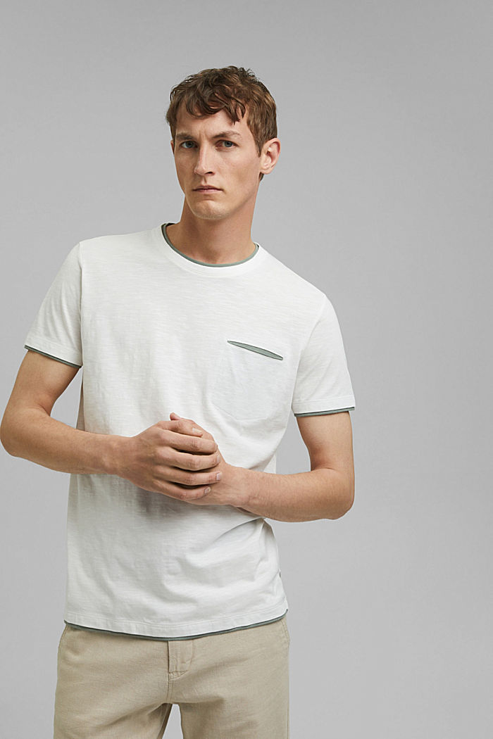Jersey layered T-shirt made of 100% organic cotton, OFF WHITE, detail image number 0