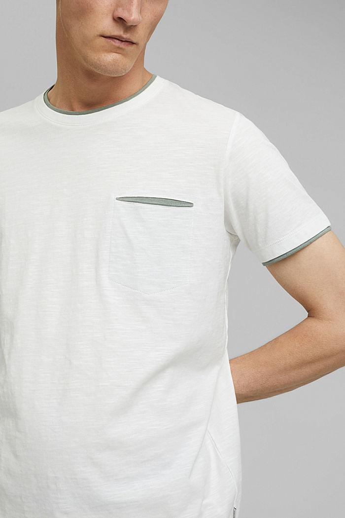 Jersey Layer-T-Shirt aus 100% Bio-Baumwolle, OFF WHITE, detail image number 1
