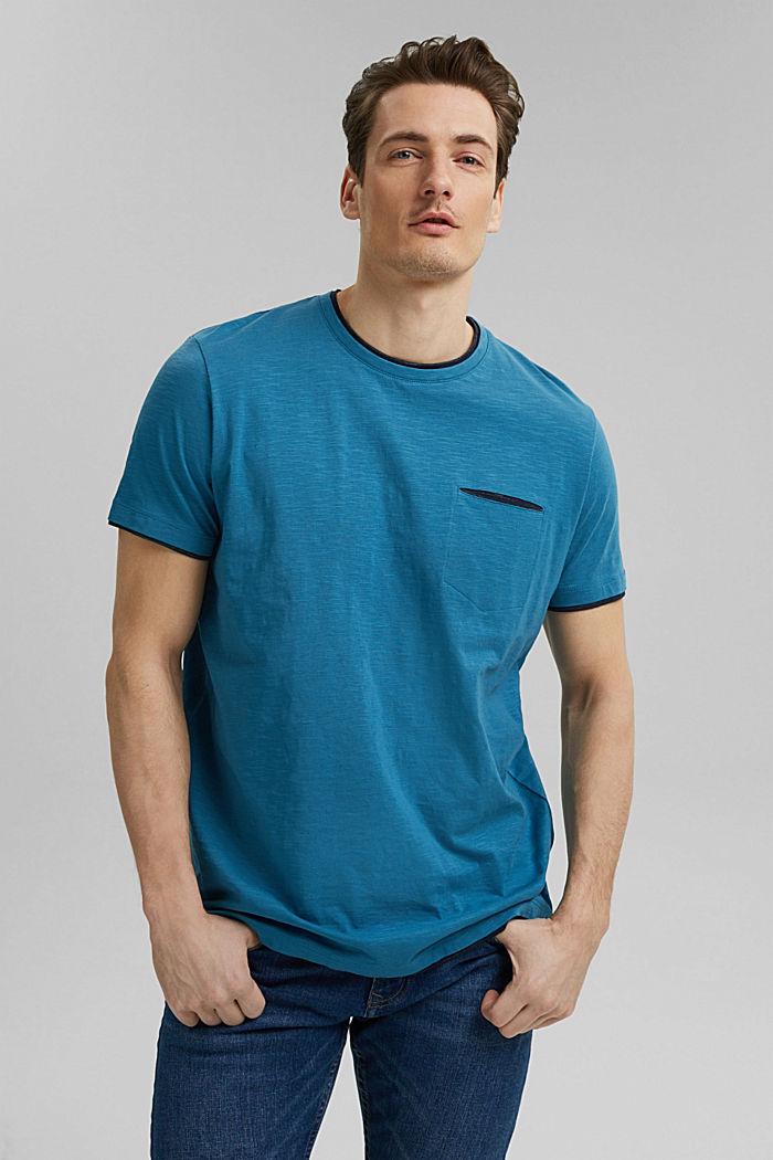 Jersey Layer-T-Shirt aus 100% Bio-Baumwolle, PETROL BLUE, detail image number 0