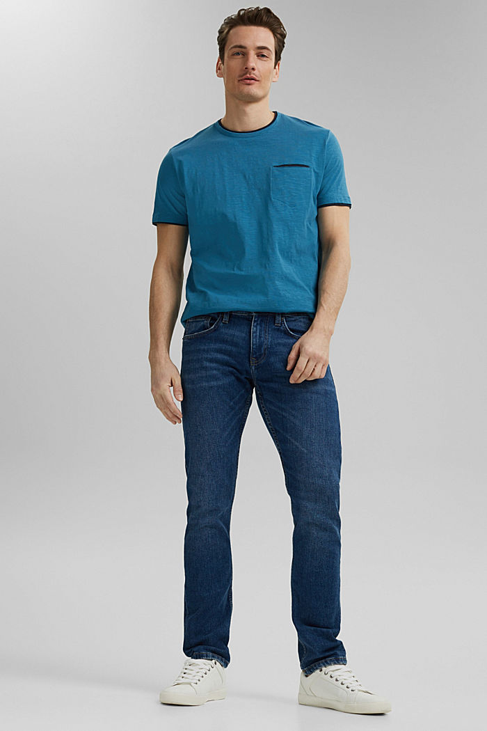 Jersey Layer-T-Shirt aus 100% Bio-Baumwolle, PETROL BLUE, detail image number 2