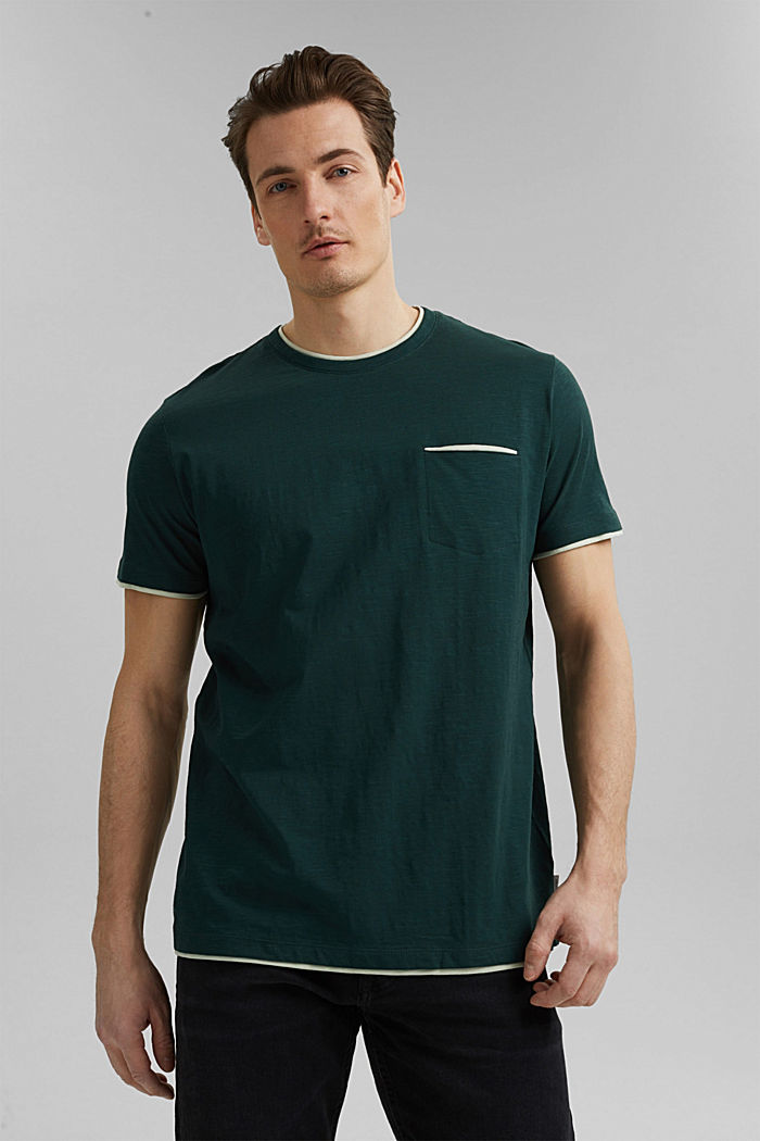 Jersey layered T-shirt made of 100% organic cotton, TEAL BLUE, detail image number 0