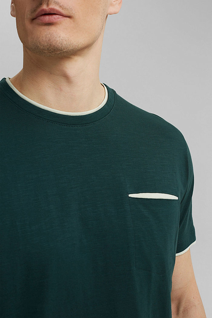 Jersey layered T-shirt made of 100% organic cotton, TEAL BLUE, detail image number 1