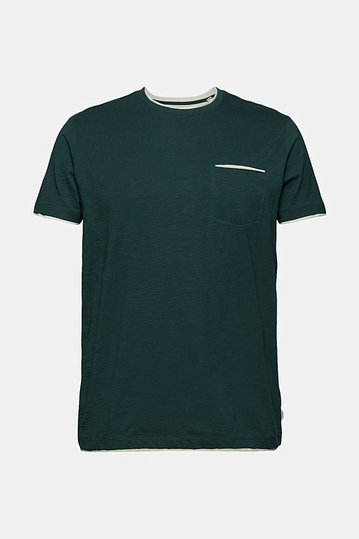 Jersey layered T-shirt made of 100% organic cotton, TEAL BLUE, detail image number 6